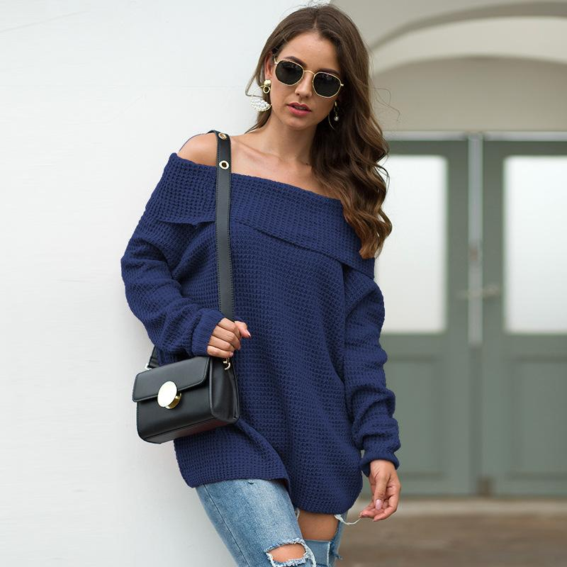Women Solid Loose Off The Shoulder Sweater - fashionshoeshouse