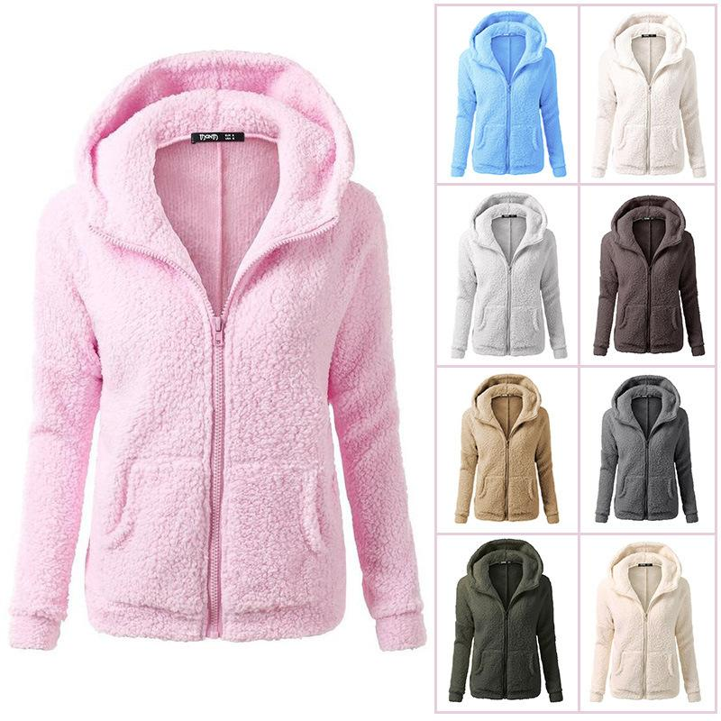 Women Large Size Winter Fall Solid Fur Hoodie Sweatshirt - fashionshoeshouse