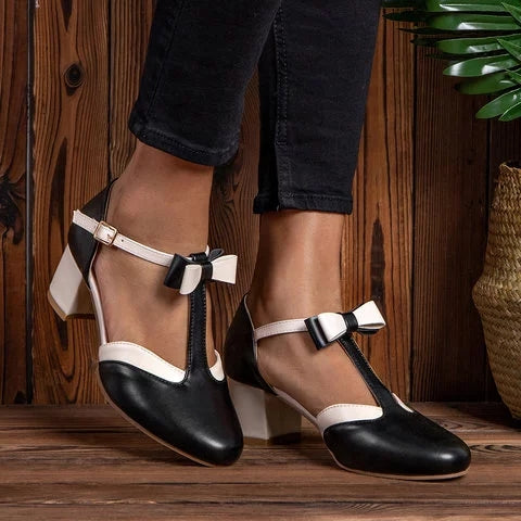 Bowknot Buckle Chunky Heel T-Strap Sandals - fashionshoeshouse