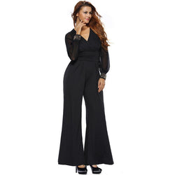Plus Size Lace V Neck Flare Pants Jumpsuits For Women - fashionshoeshouse