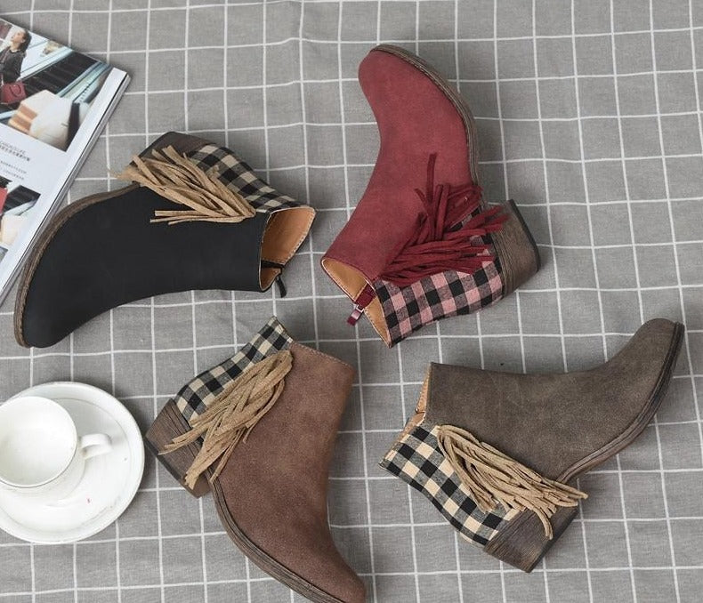 Autumn Plaid Martin Boots Women Vintage Pointed Toe Tassel Boots