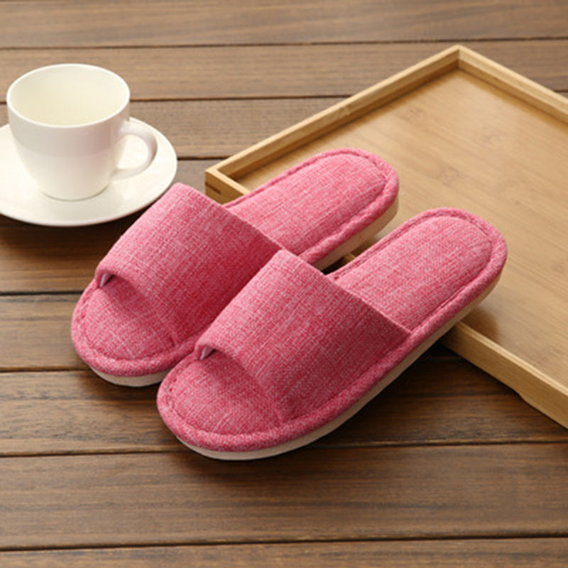Linen Slip-On Flat Heel House Comfy Slippers - fashionshoeshouse