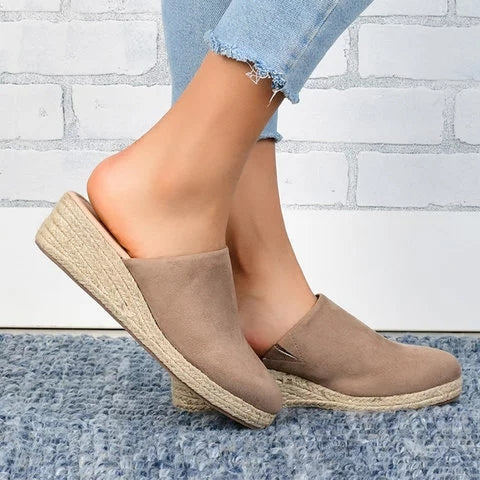 Mule Sandals Espadrilles Wedges Closed Toe Women Slide Sandals - fashionshoeshouse
