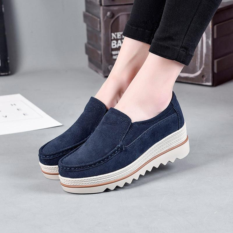 Pure Color Medium Heel Leather Casual Loafers For Women - fashionshoeshouse