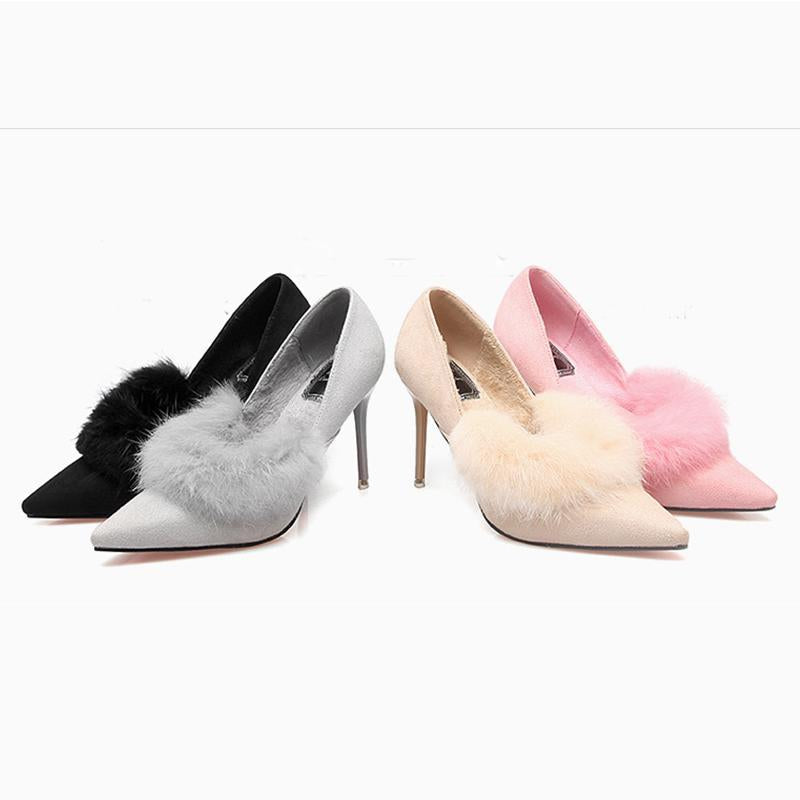 2 3/4 Inch Height Fur Lining Suede Pointed Toe Pink Heels For Women - fashionshoeshouse