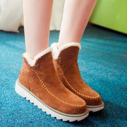 Ankle Boots Fur Lining Flat Heel Boots For Women - fashionshoeshouse