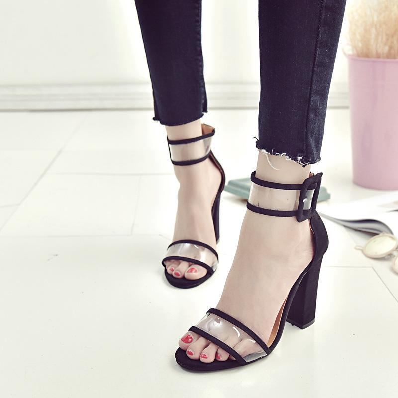 Pure Color Hollow High Heel Sandals - fashionshoeshouse
