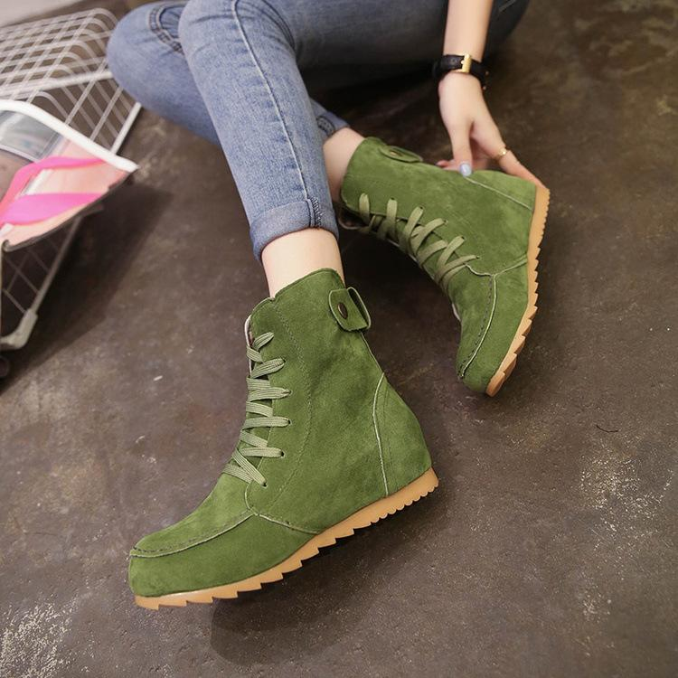 Round Toe Suede Lace-Up Boots - fashionshoeshouse