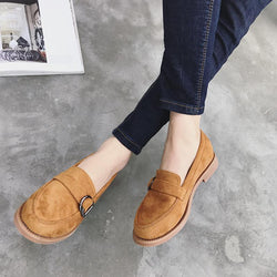 Comfortable New Fashion Belt Buckle Antiskid Slip On Flat Shoes For Women - fashionshoeshouse
