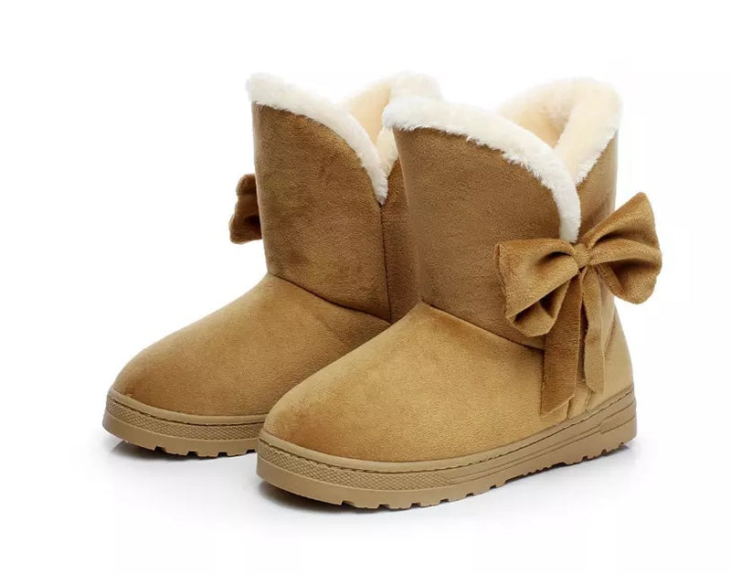 Cute Bowknot Fur Snow Boots for Women Winter Warm Flats