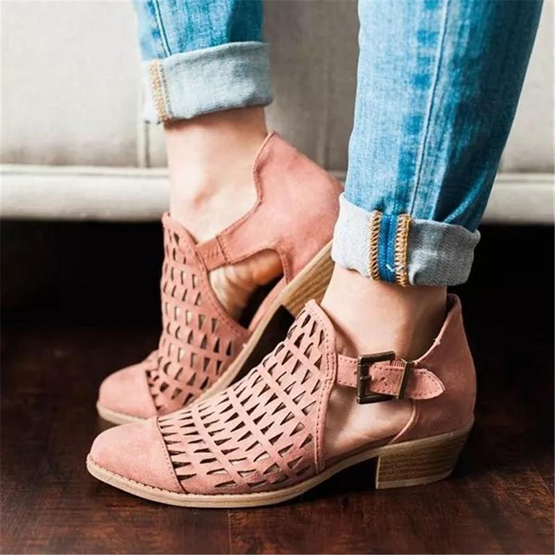 Three Colors Hollow Low Heel Sandals - fashionshoeshouse