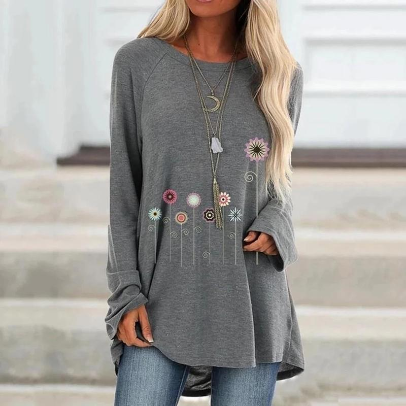 Women Casual Crew Neck Solid Long Sleeve Floral Shirts & Tops - fashionshoeshouse