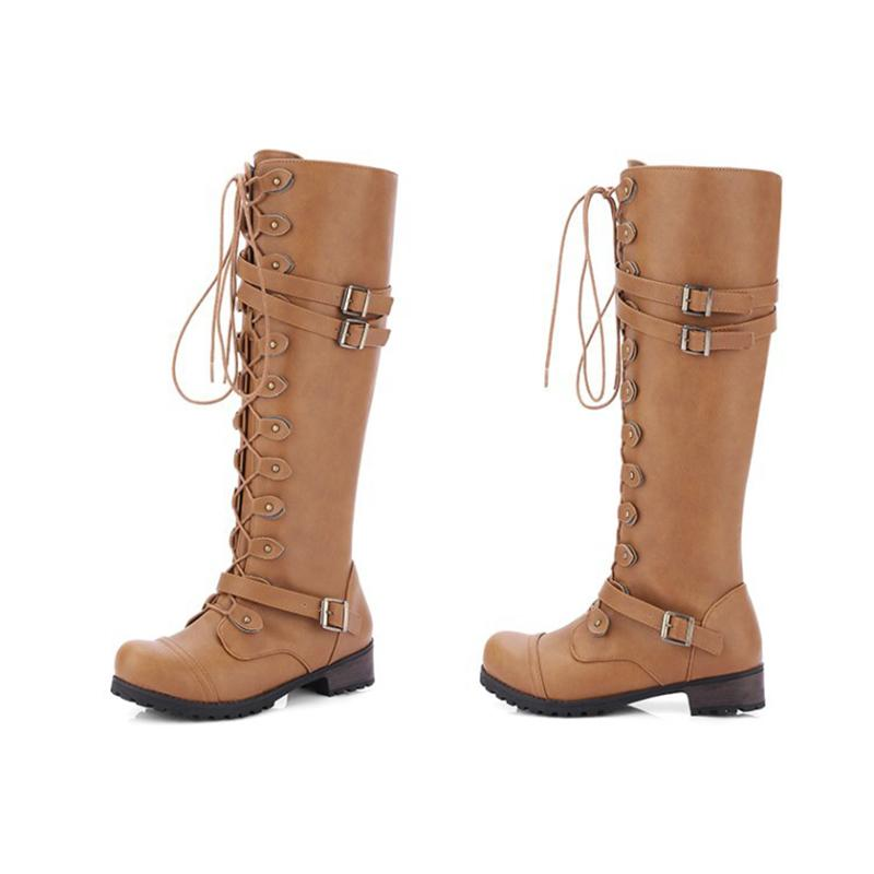 Women Combat Boots Rivet Buckle Strap Knee High Boots - fashionshoeshouse