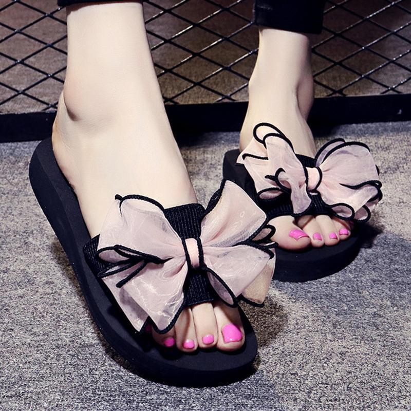 7 Colors Bowknot Low Heel Sweet Slippers For Women - fashionshoeshouse