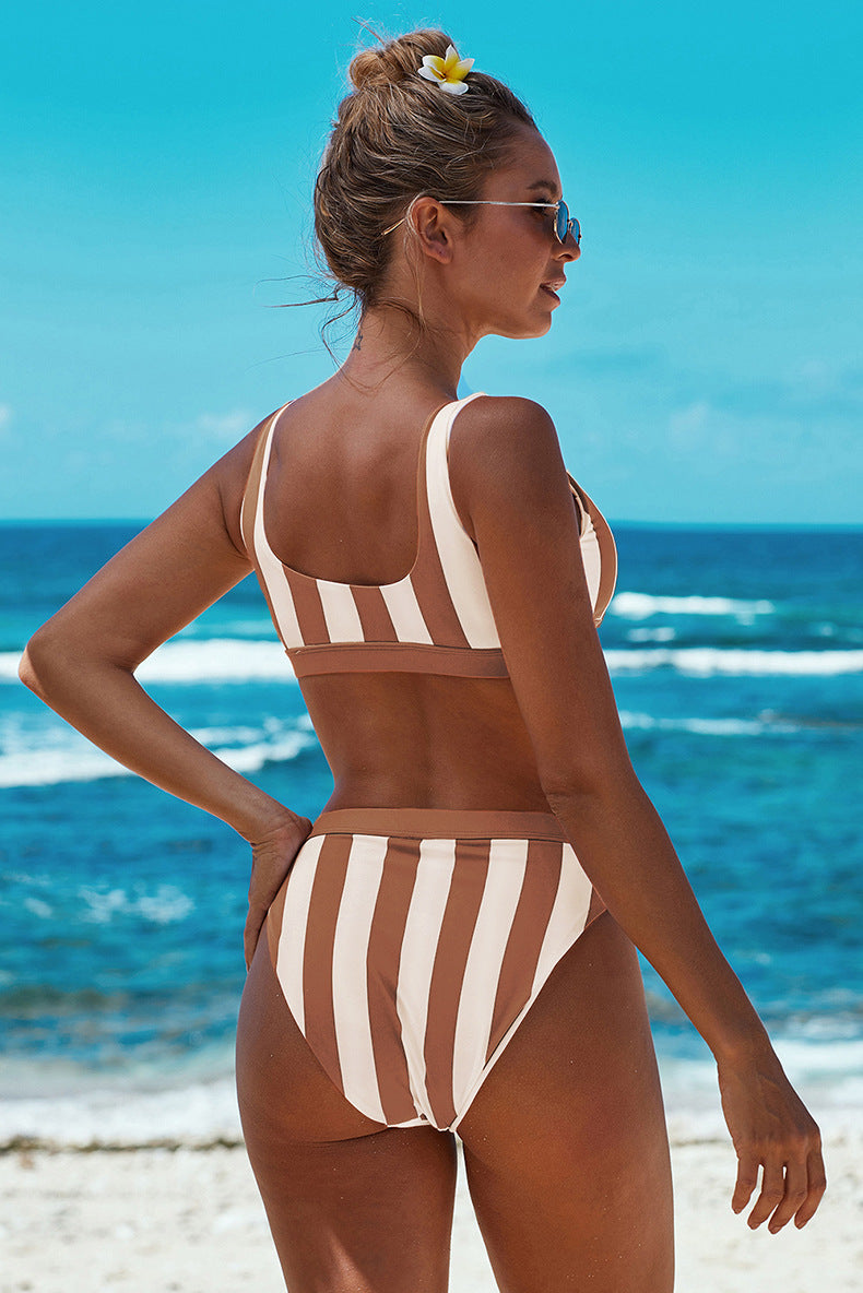 Sexy Striped Boat Neck Women Push Up Bikini - fashionshoeshouse