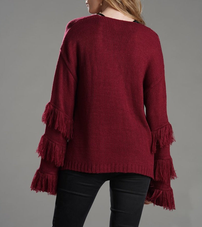 Women Pure Color Tassel Knit Sweater - fashionshoeshouse