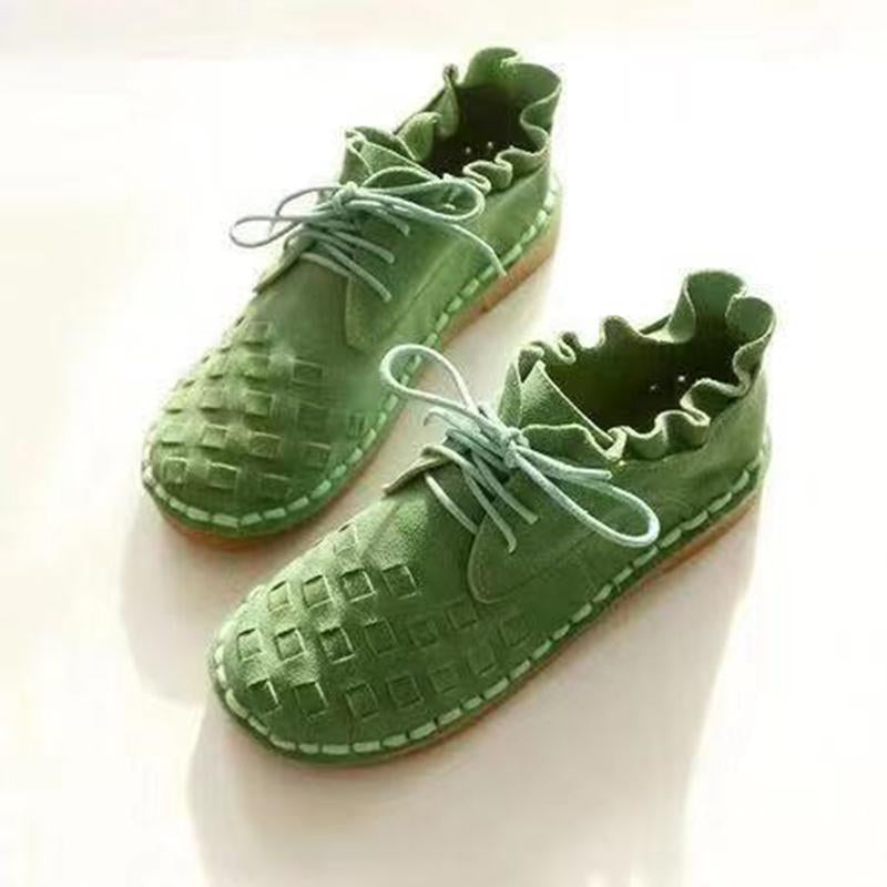 Ethnic New Fashion Canvas Grid Lace Up Flats Women - fashionshoeshouse