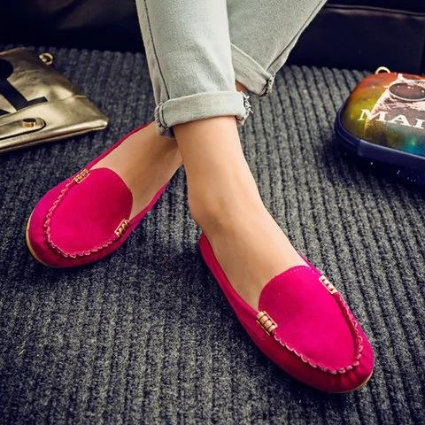 Portable Flat Soft Suede Loafers For Women - fashionshoeshouse