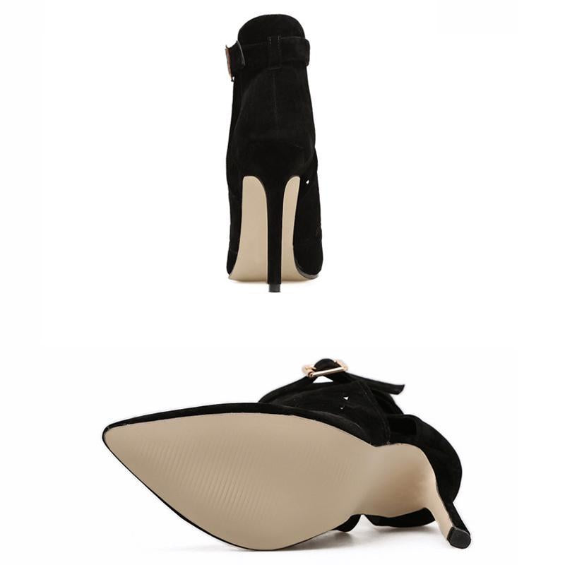Spring New Arrival Hollow Out Suede Black Women Sandals - fashionshoeshouse