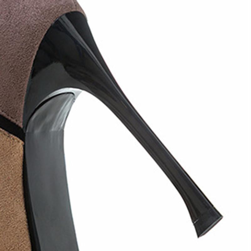 Three Colors Stitching Vogue Black High Heels For Women - fashionshoeshouse