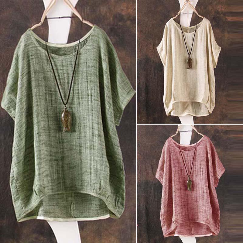 Summer Round Neck Short Sleeves Tops - fashionshoeshouse