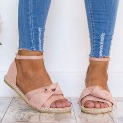 Bow-knot Hemp Rope Flat Sandals - fashionshoeshouse