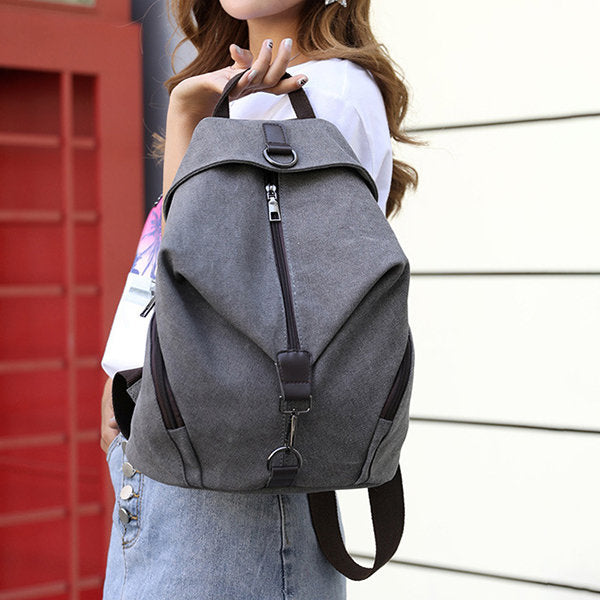 Casual Canvas Women Backpack Travel BackBag Large Capacity School Bag - fashionshoeshouse