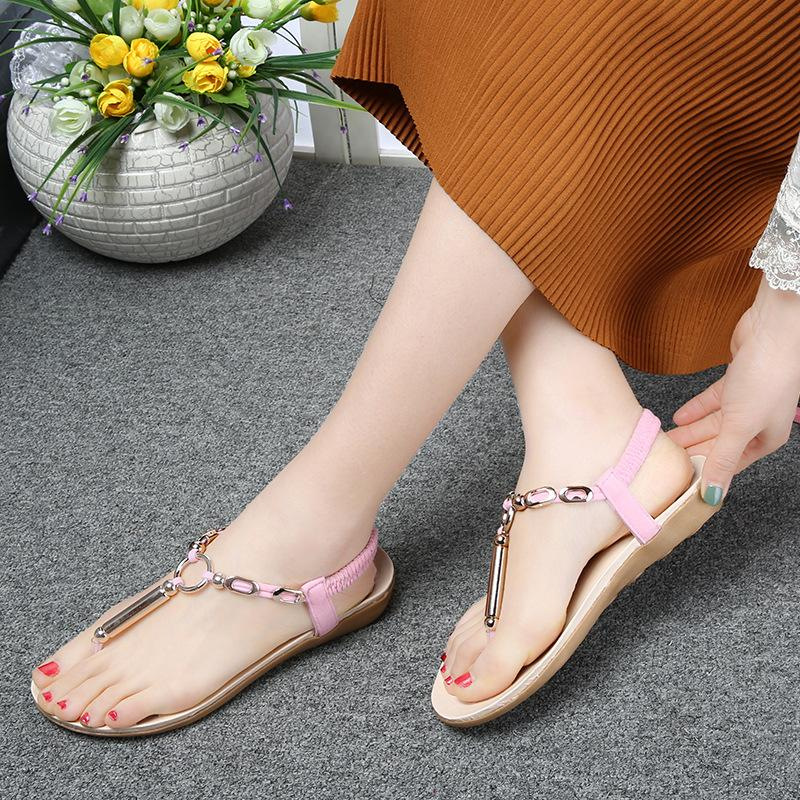 Elastic T-strap Metal Ring Clip Toe Flat Sandals - fashionshoeshouse