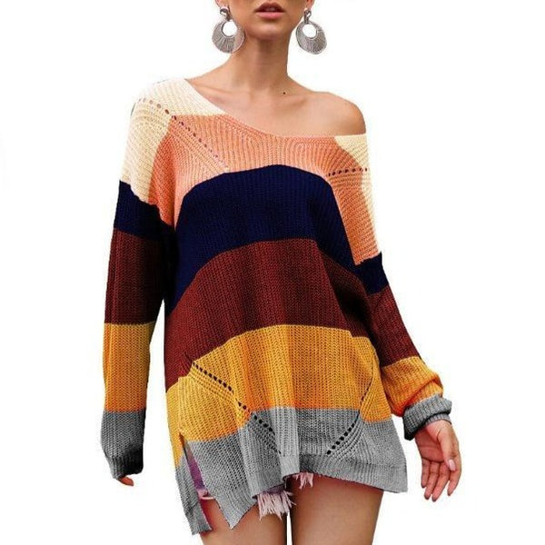 Rainbow color striped sweater fashion knit oversized sweater for women