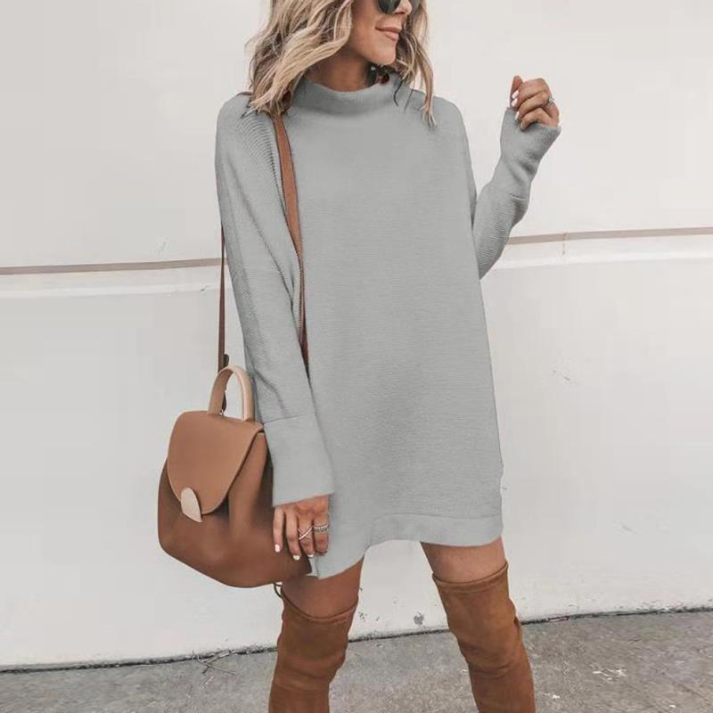 Pure Color Turtle Neck Women Sweater Dress - fashionshoeshouse