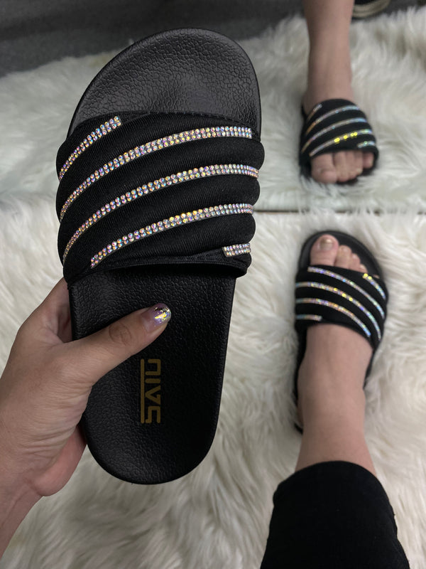Women Rainbow Rhinestone Wide Slide Sandals