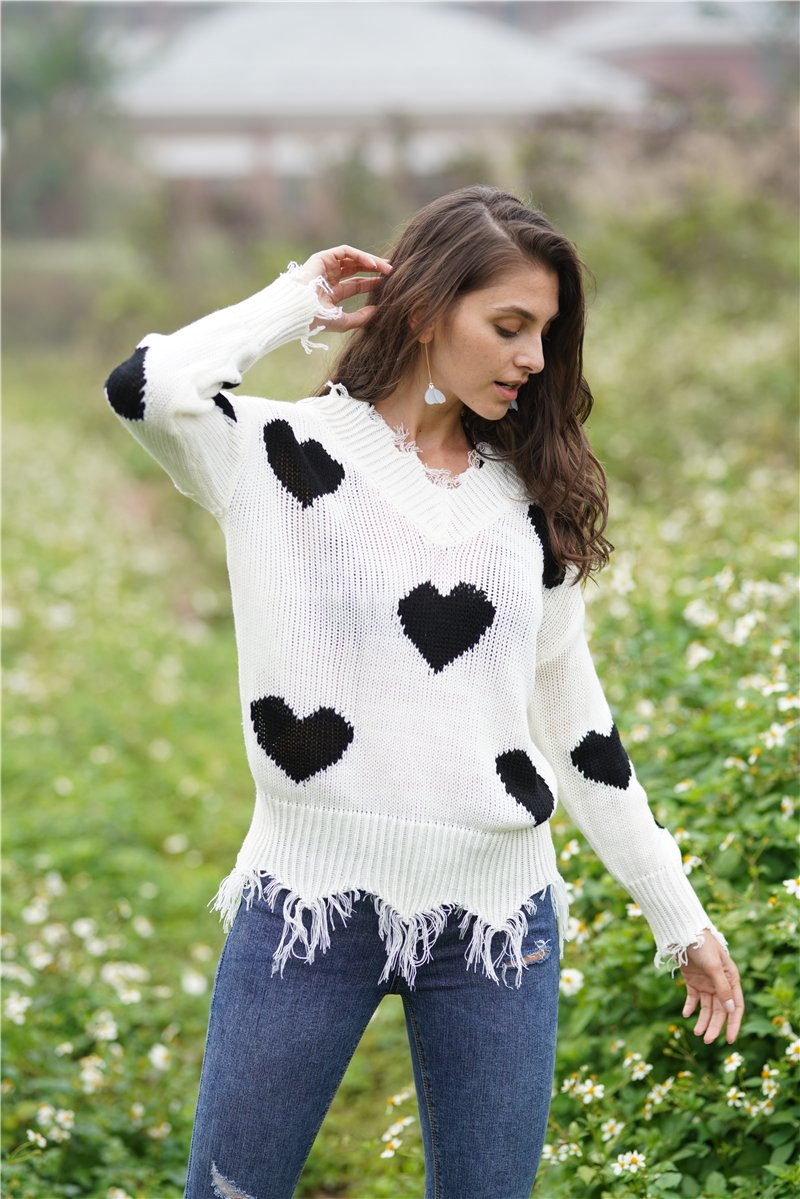 Christmas V Neck Love Print Knit Sweaters For Women - fashionshoeshouse