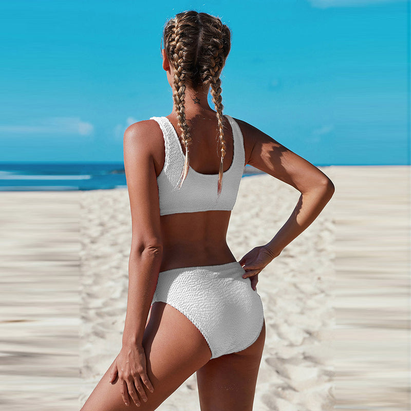 Solid High Waisted Triangle Two Piece Swimsuits For Women - fashionshoeshouse
