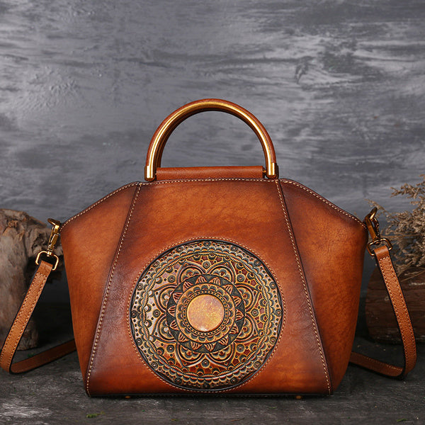 Women Genuine Leather Vintage Totem Designer Handbag Shoulder Bag - fashionshoeshouse