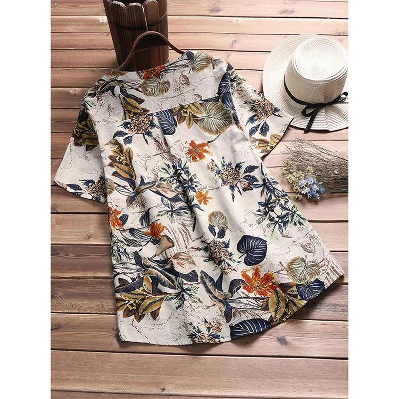 Cotton Short Sleeve Print V-neck Shirt - fashionshoeshouse