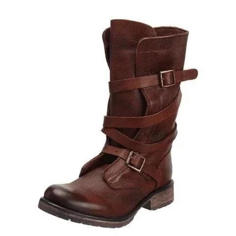 Women Vintage Casual Buckle Strap Platform Riding Boots - fashionshoeshouse