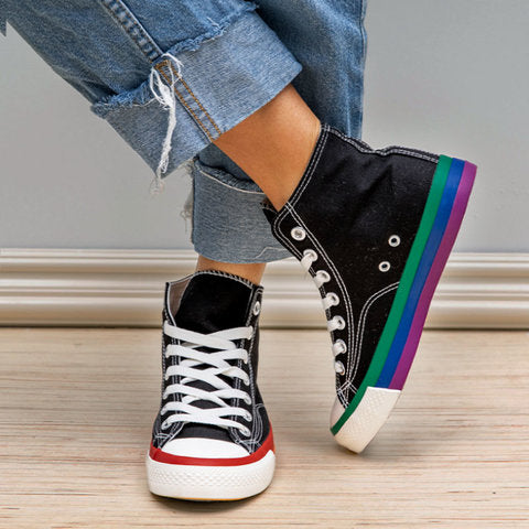 Colorful Daily Canvas Sneakers Flat Heel Lace Up Sneakers - fashionshoeshouse