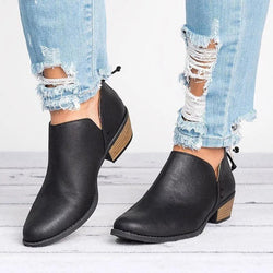 Women Cut Out Ankle Slip-On Booties Low Heel Cute Short Boots - fashionshoeshouse