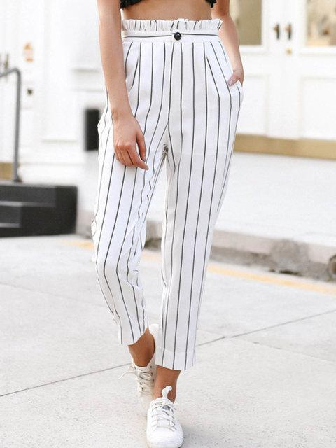 Summer Striped Pants Button Pinstripe Pants Womens - fashionshoeshouse