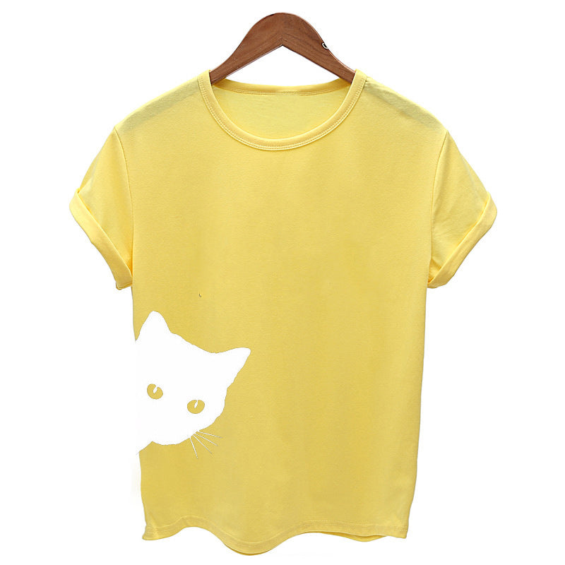 Printed Cat Round Neck Short Sleeve Casual Women Tops - fashionshoeshouse