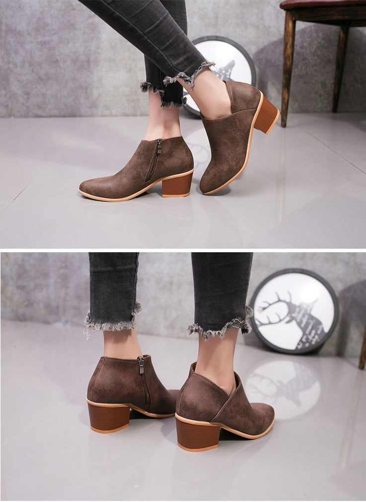 Vintage Leather Ankle Boots Slip-On Chunky Heels Waterproof Zipper Boots
