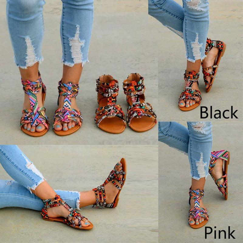 Bohemia Large Size Summer Flat Sandals For Women - fashionshoeshouse