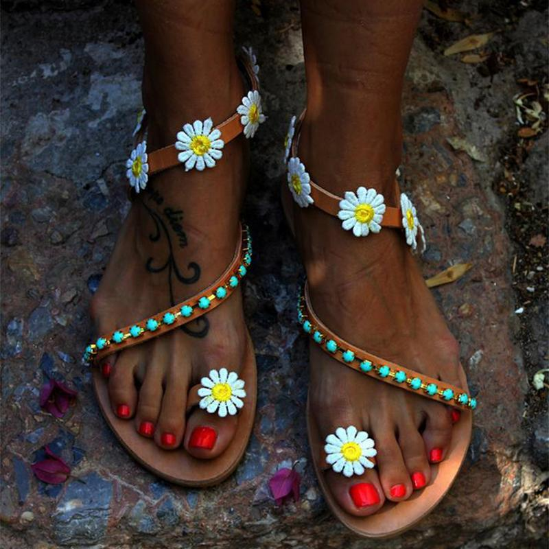 Fashion Big Flowers Straps Flat Sandals - fashionshoeshouse