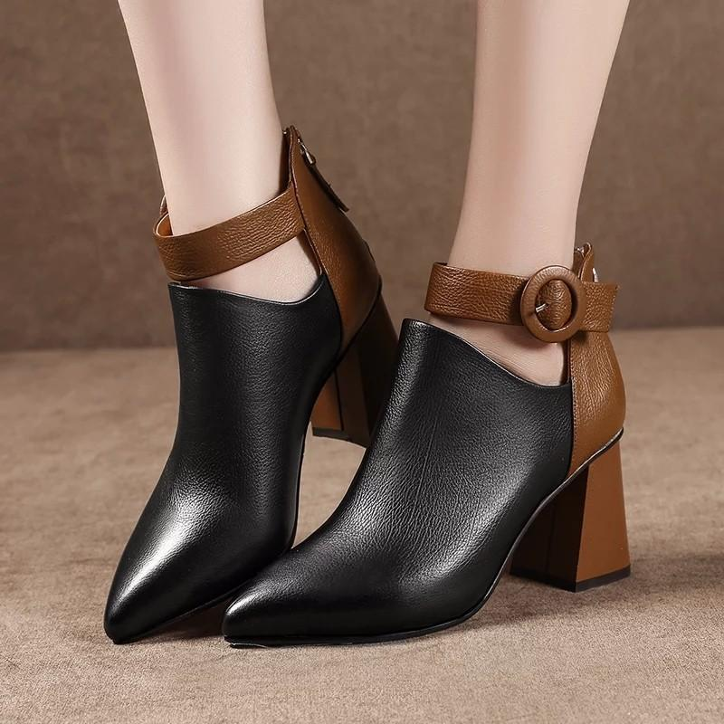 Fashion Ankle Martin Boots Pointed Toe Zipper High Heels - fashionshoeshouse