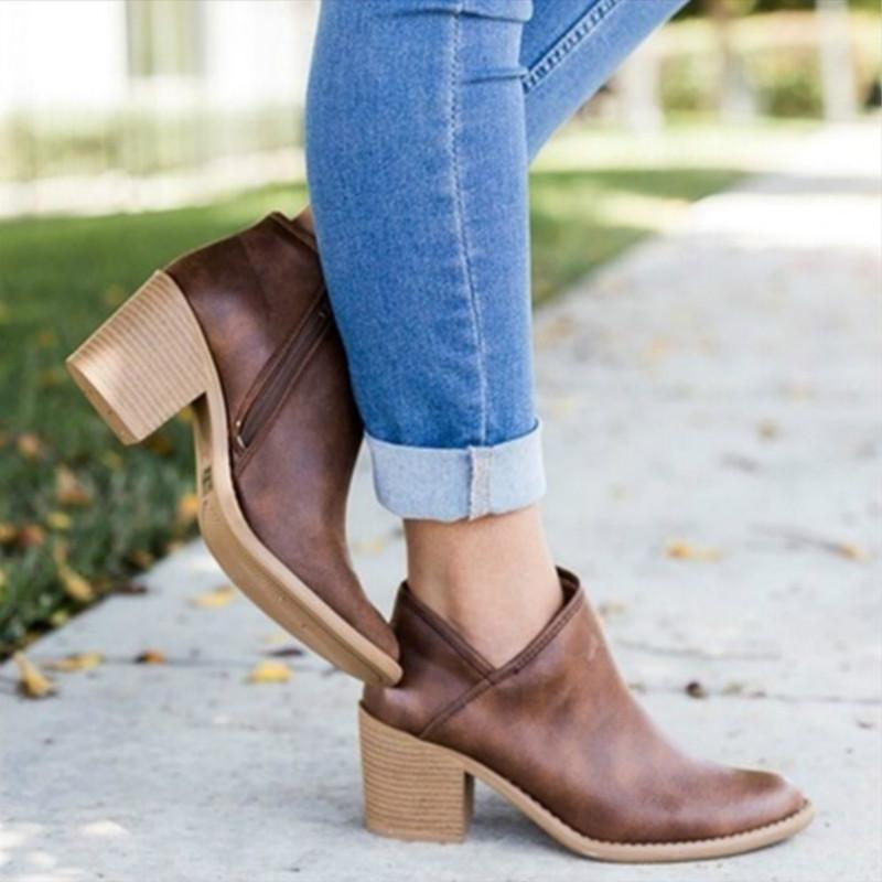 Side Zip Chunky Booties Low Heel Closed Toe Faux Stacked Ankle Boots - fashionshoeshouse