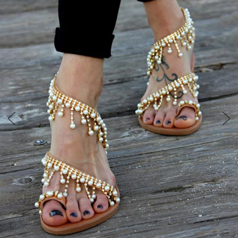 Handmade Beaded New Fashion Flat Sandals - fashionshoeshouse