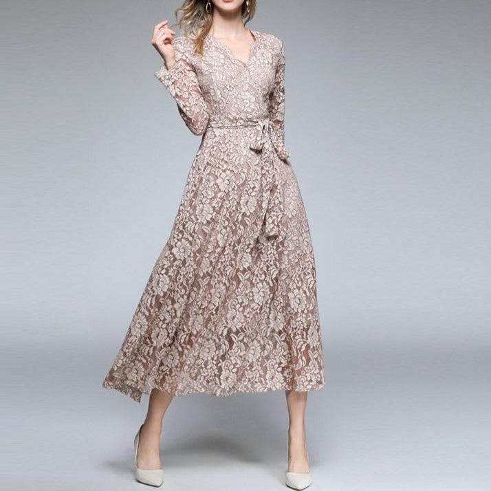 Elegant Knot Waist Large Swing Khaki Lace Dress - fashionshoeshouse