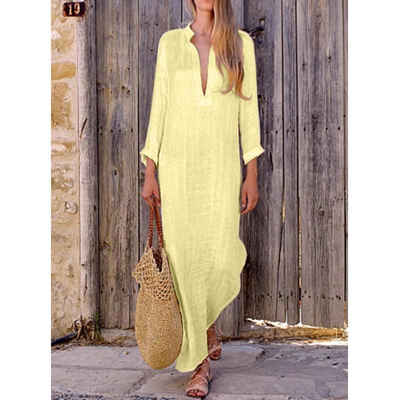 Slim V-Neck Long Sleeve Slit Maxi Dress - fashionshoeshouse