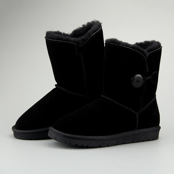 Women Leather Fleece Lining Thick Fur Keep Warm High Cut Button Snow Boots