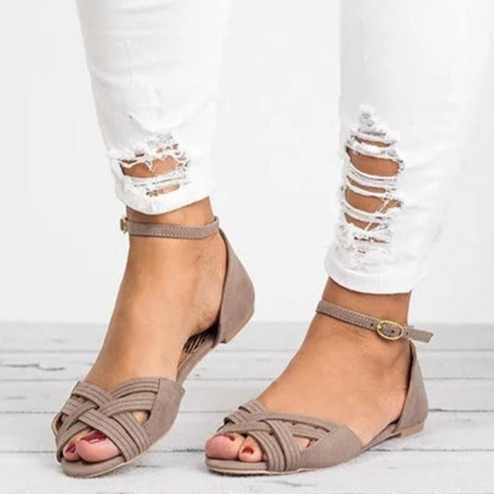 Cross Straps Foot Ring Flat Sandals - fashionshoeshouse